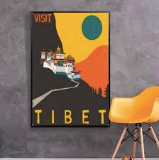 Visit Tibet Potala Palace China Travel Tour Retro Vintage Poster Canvas Painting Diy Wall Paper Posters Home Decor Gift Vintage Poster Paper Posterposter Vintage Aliexpress