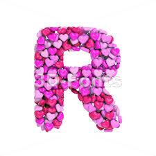 love letter r uppercase font on white