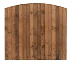Pressure Treated Brown Double Sided Close Board Arched Fencing Panel Fencing