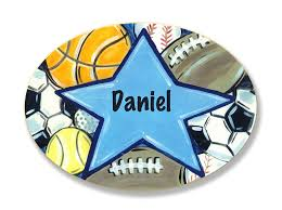 Amazon Com The Kids Room By Stupell Daniel All Star Sports Personalized Oval Wall Plaque Baby