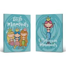Smile Art Design Little Mermaid And I Believe In Mermaid Decor Quote 2 Piece Set Canvas Wall Art Print Kids Room Decor Baby Room Decor Nursery Decor Made In The Usa 40x30 X2