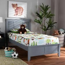 Adela Modern Gray Finished Wood Shutter Design Headboard Platform Bed Frame  | eBay