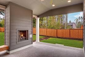 porch fireplace screened with