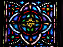 church stained glass window flower