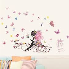 Butterfly Fairy Floral Wall Decals Colorful Wall Mural For Girls Room Nordicwallart Com