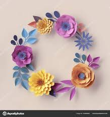 3d render pastel paper flowers