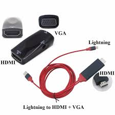Cáp Lightning to HDMI + VGA cho IPhone Ipad kết nối Máy chiếu, Tivi - IP6- HDMI + DHDMI-VGA