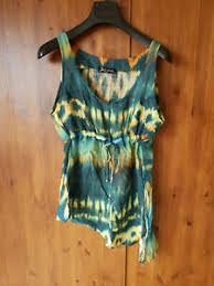 kasbah longline vest top green tie dye