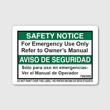 Safety Notice Emergency Decal Con Tech Manufacturing