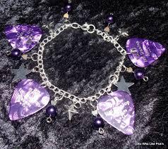 7.5 Med/Large Purple star guitar pick bracelet | Etsy