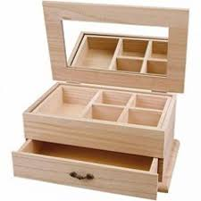 plain wooden jewellery box with mirror