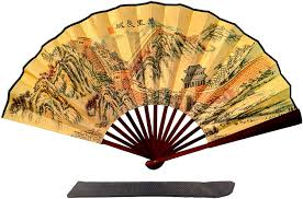 Amazon Com Folding Hand Fan Chinese Gifts Bamboo Great Wall China Large Premium Quality Handheld Japanese Fans Kitchen Dining