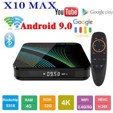 X10 MAX TV BOX Android 9.0 Smart IPTV BOX 4GB 32GB RK3318 Quad Core 4K  Media Player Google Voice Assistant BT VS H96 MAX TV BOX|
