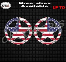 Distressed American Flag Star Vinyl Decal Sticker Set Of Two Etsy