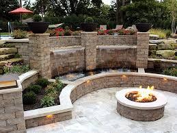 firepit backyard patio water