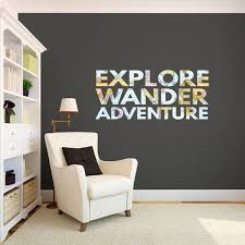 Explore Wander Adventure Wall Decal Travel Quote Map World Etsy Home Decor Simple Wall Decor Custom Wall Decals
