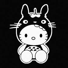 Amazon Com Hello Kitty Totoro 4 75 Car Decal Sticker Cars Laptops Windows White Sports Outdoors