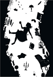 alice in wonderland silhouette wallpaper