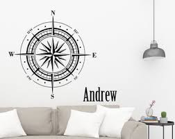 Compass Wall Decal Etsy