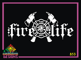 Fire Life Firefighter Maltese Cross And Axes Vinyl Decal