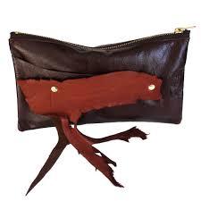 ox blood burdy leather wrist clutch