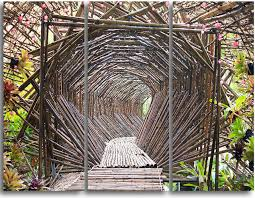 bamboo tunnel in the garden metal wall