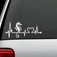 Seahorse Heartbeat Love Window Decal Sticker Custom Sticker Shop