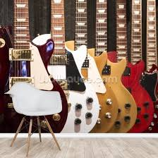 colourful electric guitars wall mural