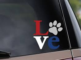 Love Paw Print Red White And Blue Vinyl Car Decal Window Etsy