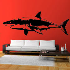 696189556 58cm X 21 65cm 2 X Great White Shark One For Each Side Vinyl Decal Car Window Wall Novelty Sticker Fish Jaws Automobiles Motorcycles Exterior Accessories