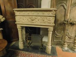 antique italian gray stone fireplace