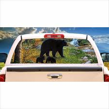 Black Bear And Cubs Window Mural Tint Decal Graphic Custom Tire Covers