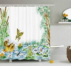 Ambesonne Kids Butterfly Duckling And Frog Playing Together Shower Curtain Shower Curtains Boutique