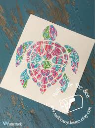 Lilly Pulitzer Inspired Sea Turtle Decal Yeti By Mailboxbythesea Sea Turtle Decal Lilly Pulitzer Vinyl Turtle