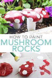 paint stones to look like mushrooms
