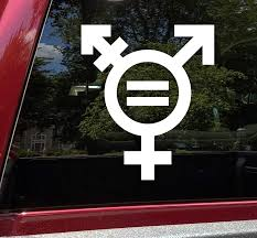 Amazon Com Minglewood Trading White Transgender Equality Symbol Vinyl Decal Gender Male Female Die Cut Sticker 4 25w X 5h Inches Automotive