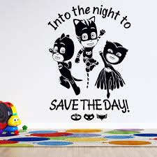 Vinyl Adhesive 3d Animation Cartoon Pj Masks Superheroes Wall Decal Quotes Into The Night To