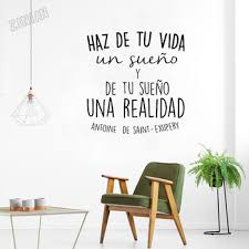 Inspirational Quote Wall Decal Home Decor Living Room Vinyl Wall Sticker Life Dreams Art Decoration Spanish Lettering Mural Y248 Leather Bag