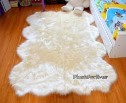 Plushfurever 5x8 White Fake Fur Throw Rug Shaggy Area Nursery Room Baby Rugs 639725422950 For Sale Online Ebay
