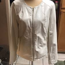 womans white faux leather jacket