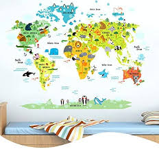 Amazon Com Imagitek Educational Kids World Map Peel Stick World Map Mural Map With Animals Wall Decal Kids Room Wall Art Child Gift For Kid Nursery Decor World Map Poster Kitchen