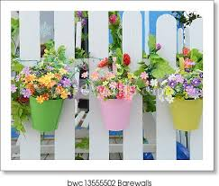 Hanging Flower Pots With Fence Art Print Barewalls Posters Prints Bwc13555502