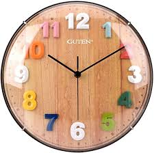 Amazon Com Guten 12 Inch Kids Wall Clock Silent Non Ticking Battery Operated Quartz Wall Clocks Colorful Easy To Read 3d Numbers Decorative Clock For Kids Room Classroom Bedroom Study Room Home