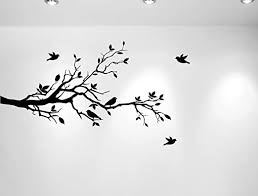 Amazon Com Tree Branches Wall Decal Love Birds Vinyl Sticker Nursery Leaves 56 Wide X 28 High Left To Right Matte Black Home Kitchen