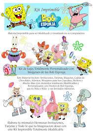 Kit Imprimible Bob Esponja Invitaciones Tarjetas Fiesta 7 500