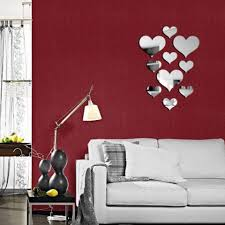 Romantic Sweet Durable Bling Love Heart Wall Sticker Mirror Mural 3d Decal Simple Diy Decorative Paster Living Room Home Decor Wall Stickers Aliexpress