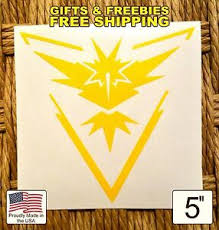 Free Sticker Car Window Decal Team Instinct Pokemon Go 5 Sticker Yellow Zapdos Ebay