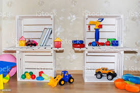 Kids Room Wallpaper And Wooden Crates In An Environmentally Friendly Shelves For Toys Stock Photo Download Image Now Istock