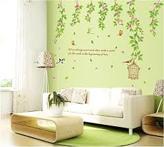 Amazon Com Bestgrewgreen Garden Flower Vine Bird Cage And Butterflies Wall Decals With Quotes Living Room Bedroom Removable Wall Stickers Murals Home Kitchen