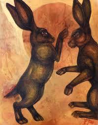 boxing hares rabbits animal art print